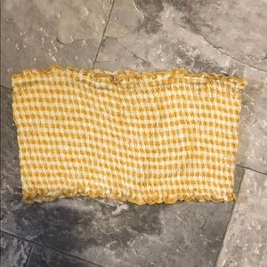 Yellow checkered tube top